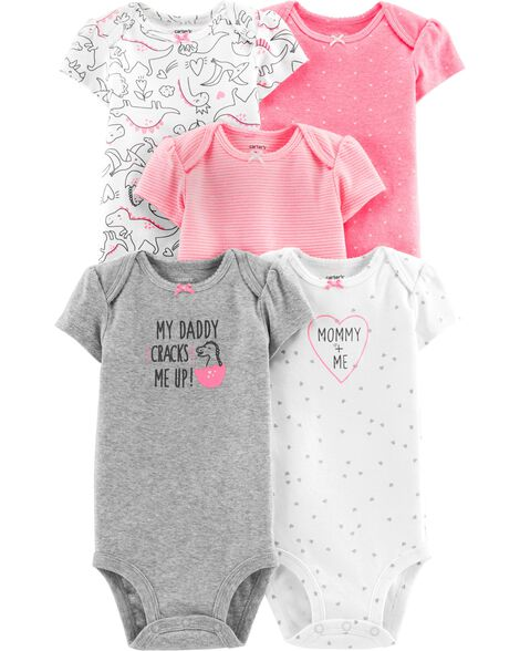 94680b4b8 Baby Girl 5-Pack Dinosaur Original Bodysuits | Carters.com