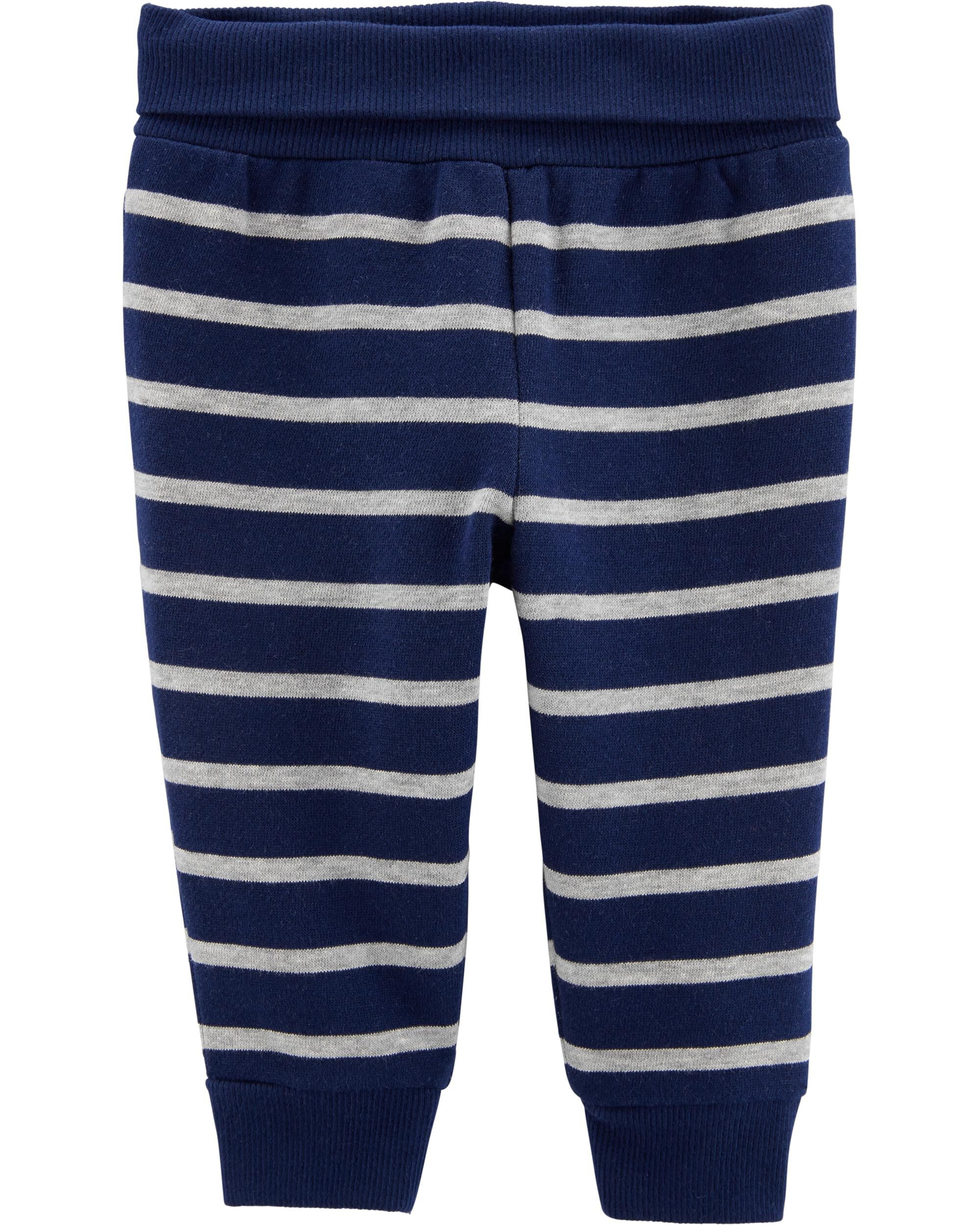 *CLEARANCE* Striped Pull-On Fleece-Lined Pants