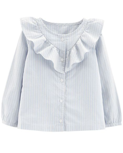 Striped Button-Front Ruffle Top