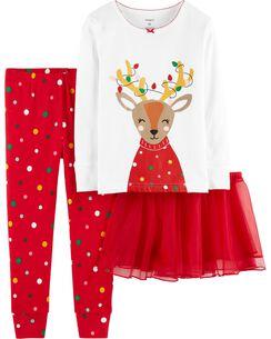 3 piece christmas reindeer snug fit cotton pjs