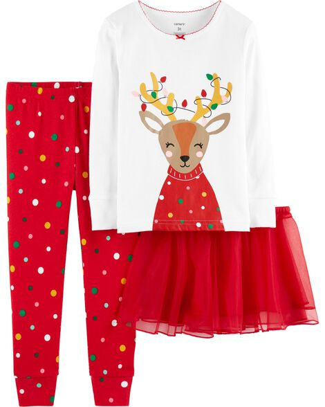 aae5a617a 3-Piece Christmas Reindeer Snug-Fit Cotton PJs