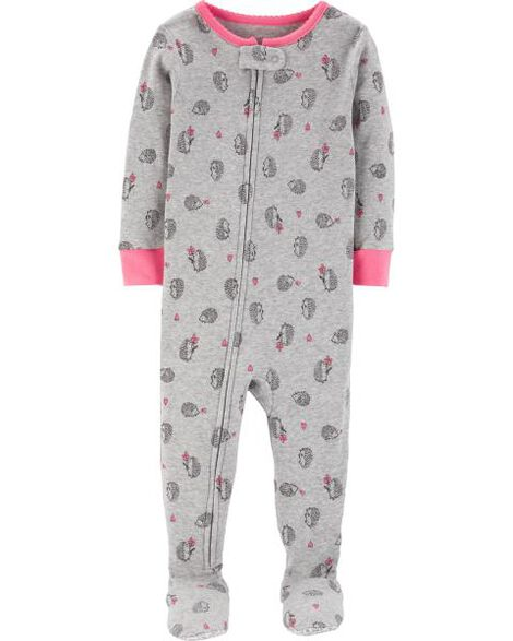 1-Piece Hedgehog Snug Fit Cotton PJs