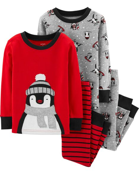 c5dd5e7e033c 4-Piece Penguin Snug Fit Cotton PJs
