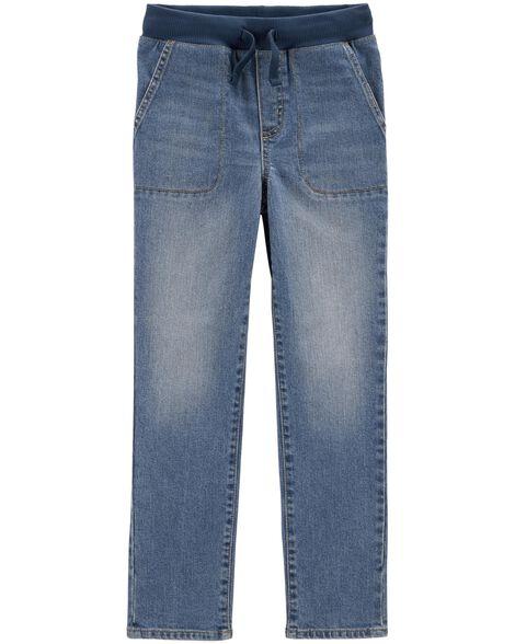 Pull-On Slub Straight-Fit Jeans