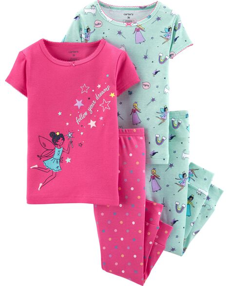 4-Piece Fairy Snug Fit Cotton PJs
