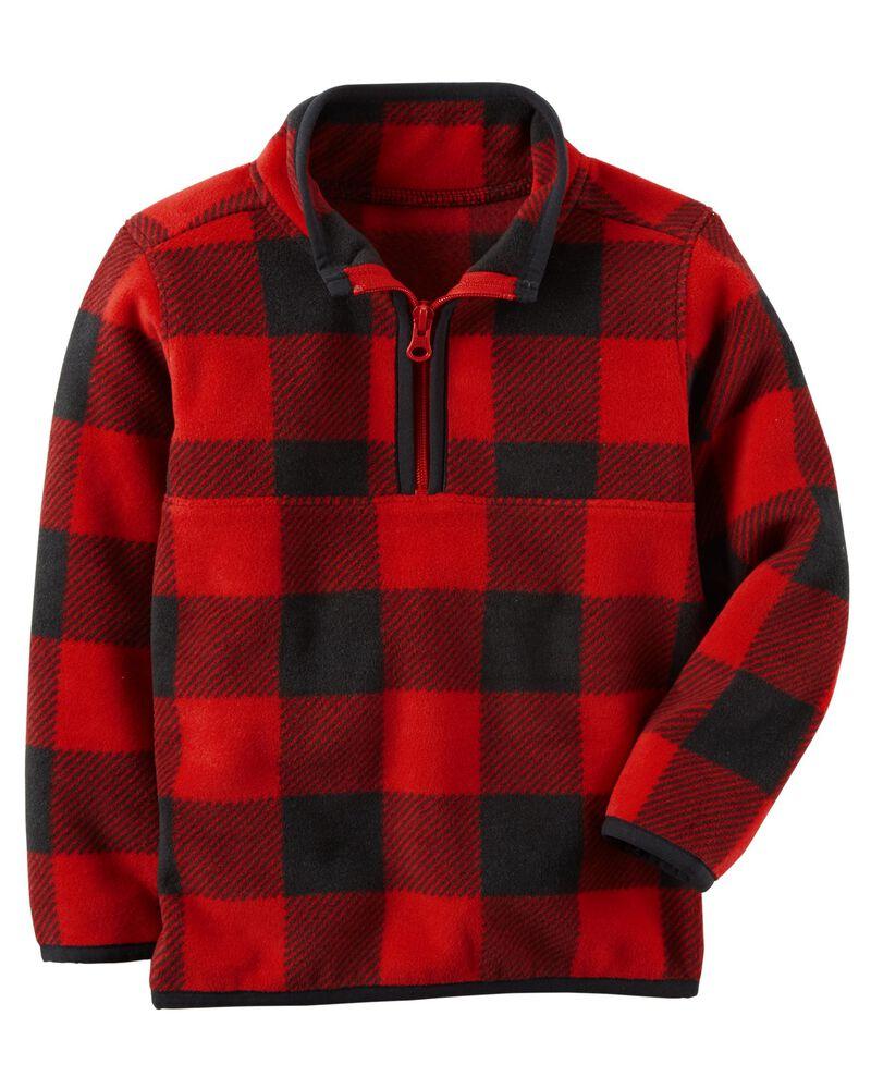 Zip-Up Fleece Jack 2-Piece Striped// Buffalo Check Fleece Pullover /& Jogger Set