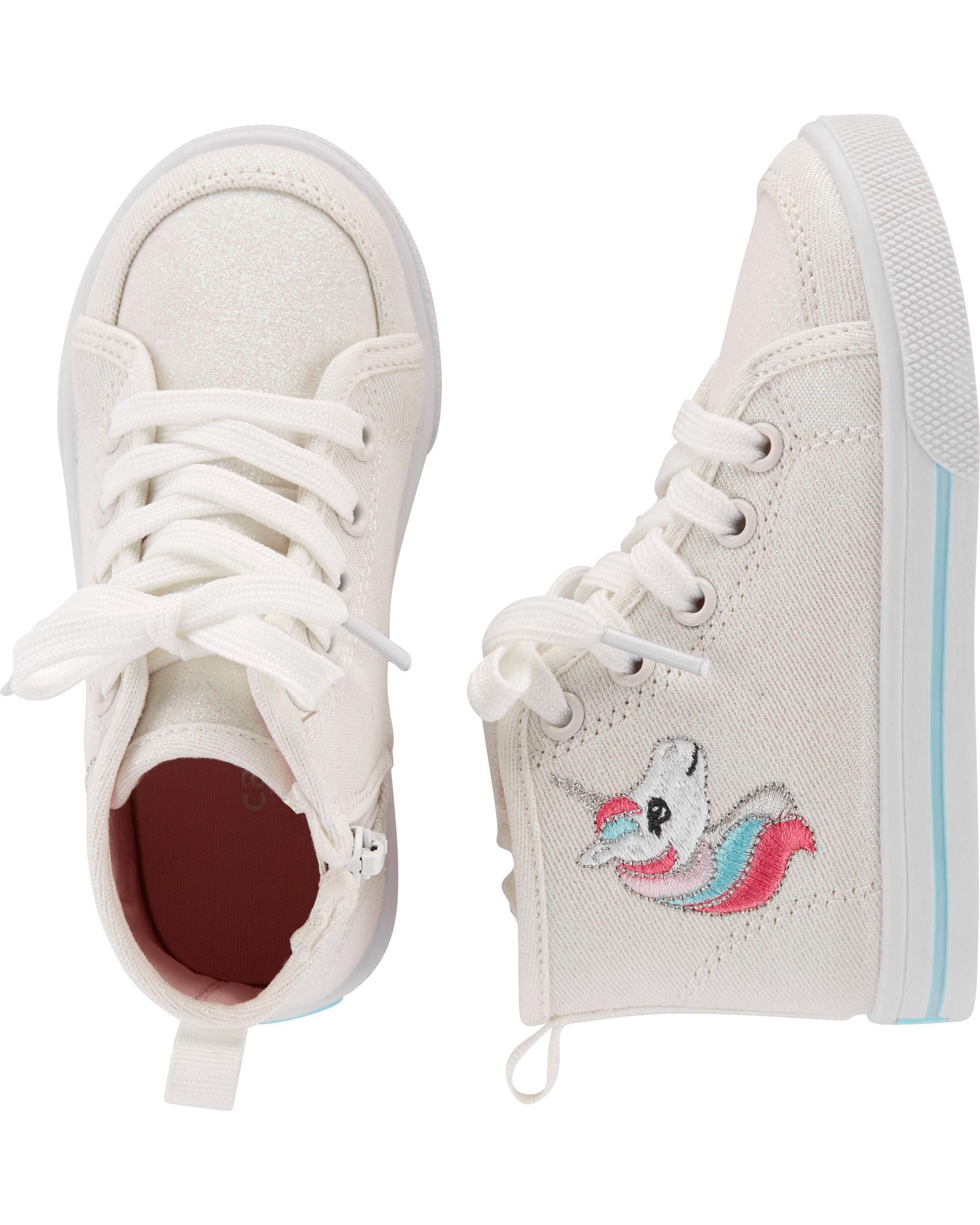ccc021132776a Carter's Glitter Canvas Unicorn High Top Sneakers | Carters.com