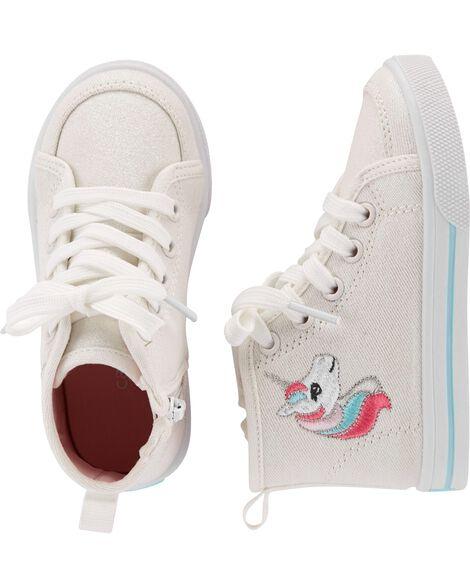 Carter's Glitter Canvas Unicorn High Top Sneakers