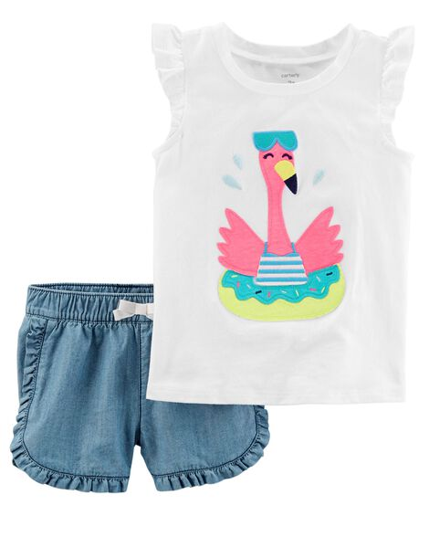 2-Piece Flamingo Flutter-Sleeve Top & Denim Short Set