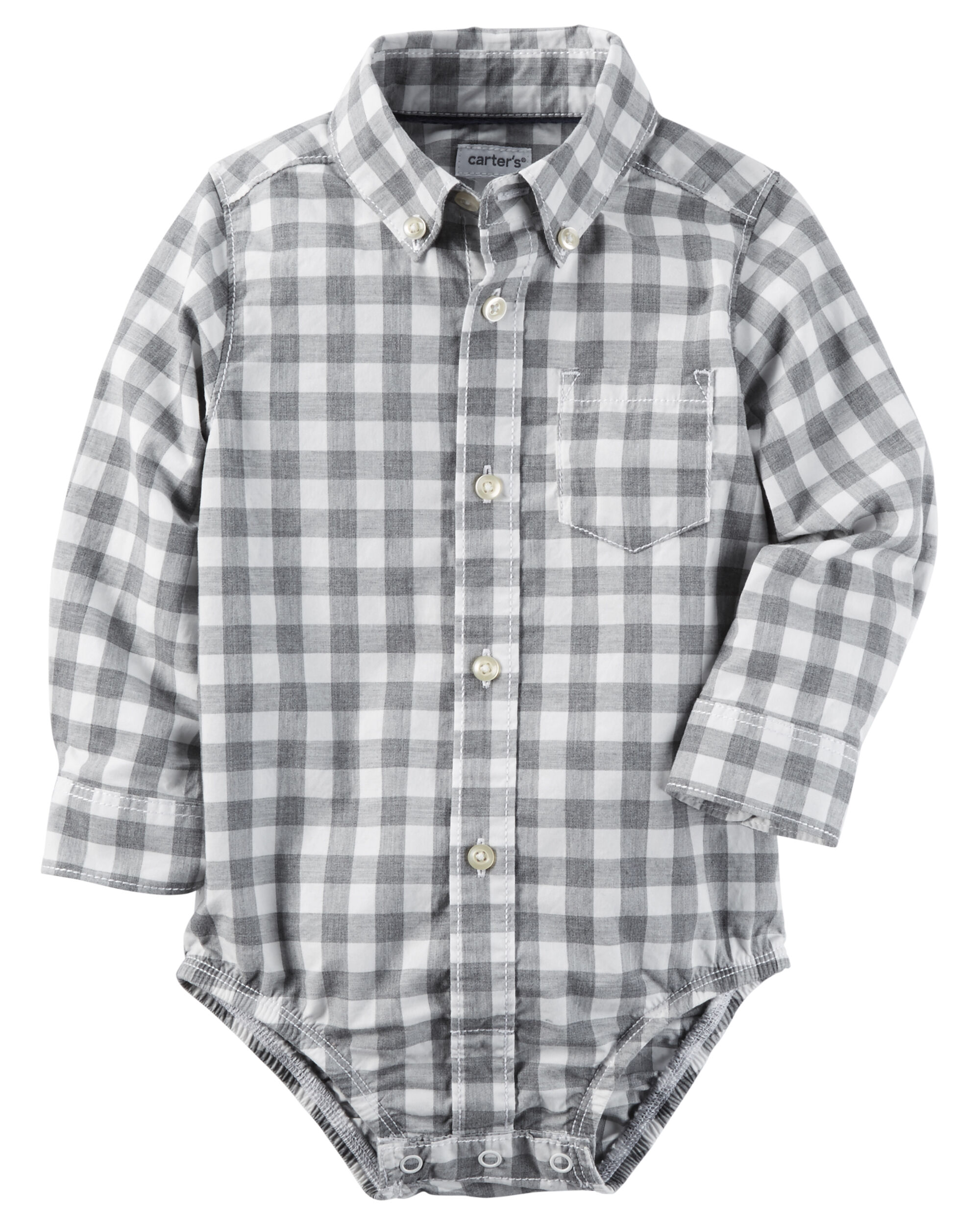 Checkered Button Front Bodysuit