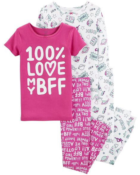 6baae6f7ad5b 4-Piece BFF Snug Fit Cotton PJs