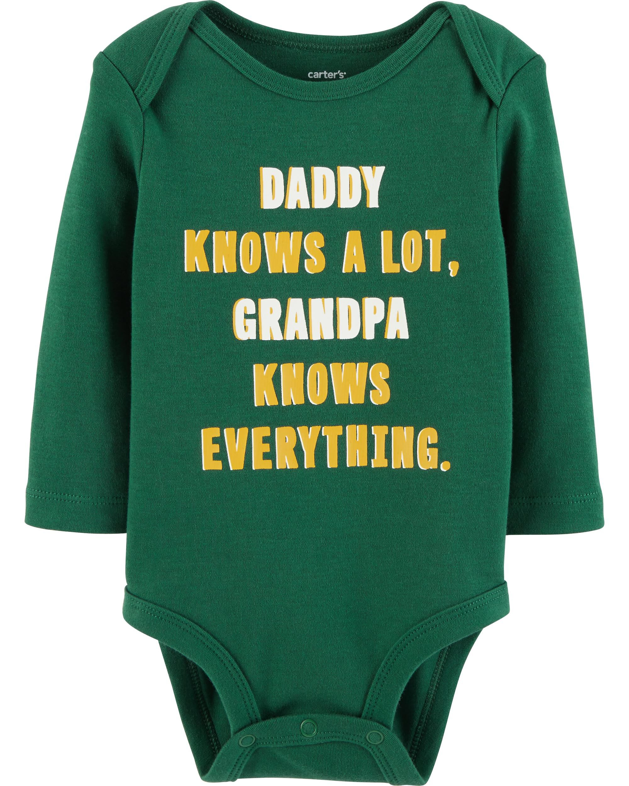 BABY ONE PIECE DADDY KNOWS A LOT BUT MOMMY KNOWS EVERYTHING ROMPER