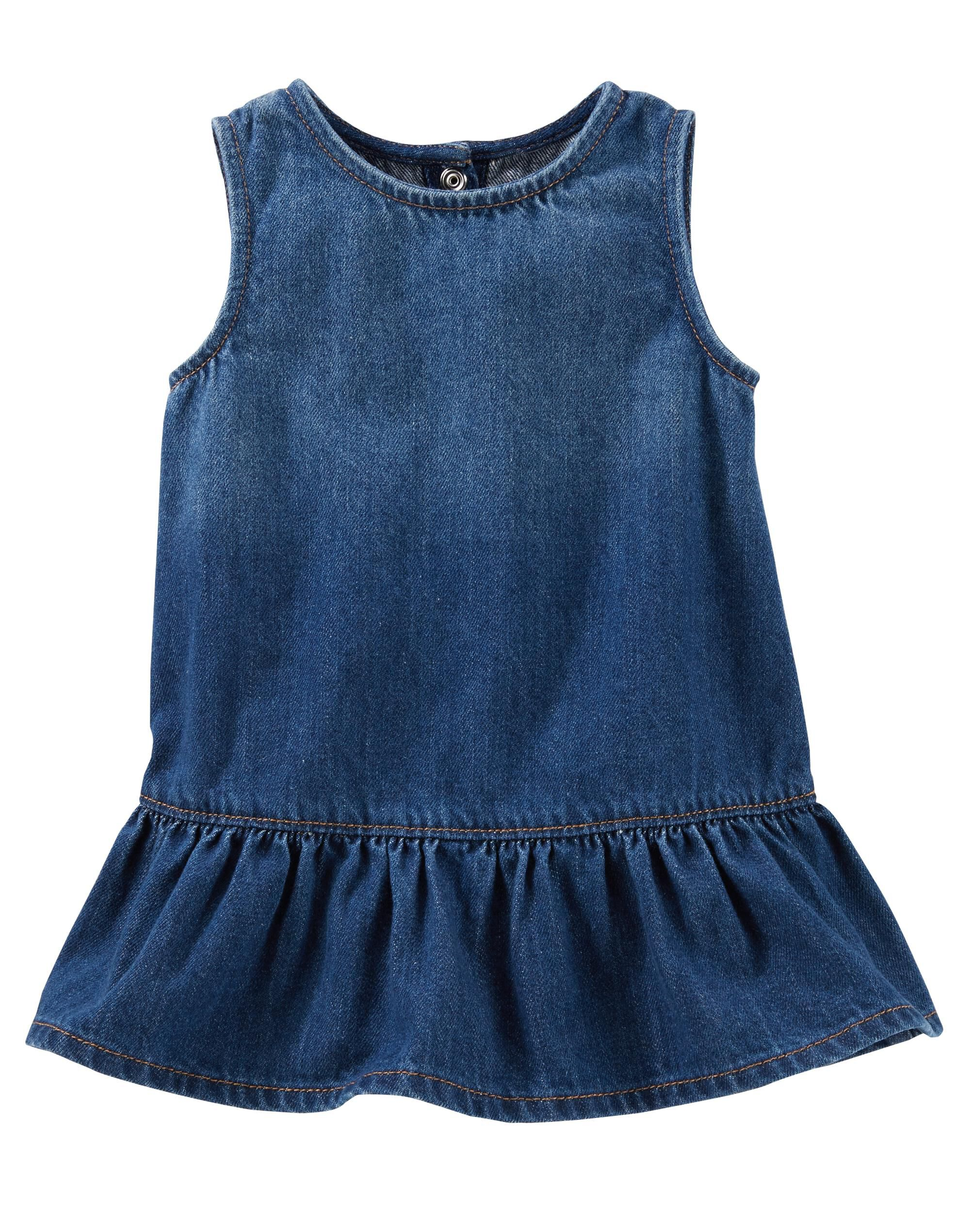 Baby Girl 2 Piece Ruffle Hem Denim Dress