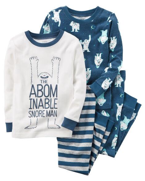 4-Piece Snoreman Snug Fit Cotton PJs