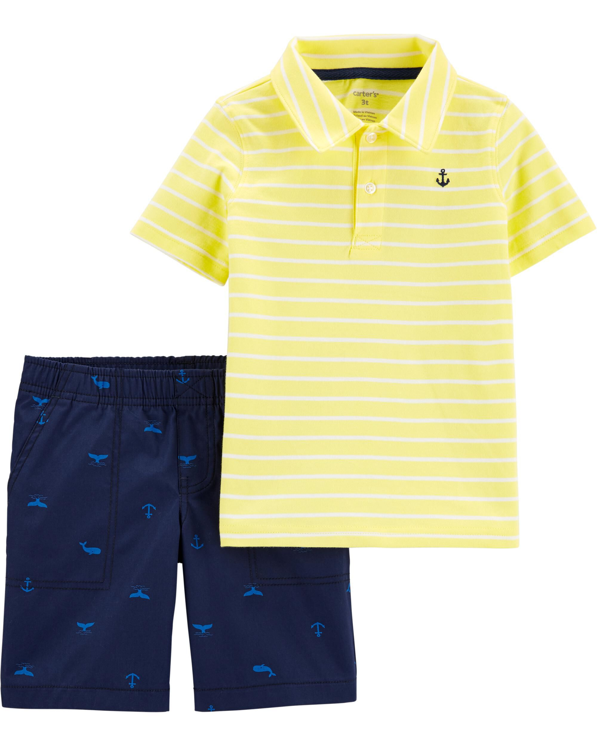 *DOORBUSTER* 2-Piece Striped Polo & Whale Short Set