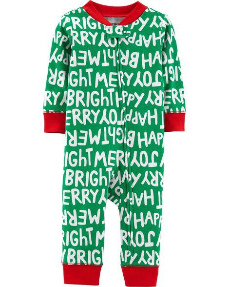 cb1fbfceacab 1-Piece Christmas Snug Fit Cotton Footless PJs