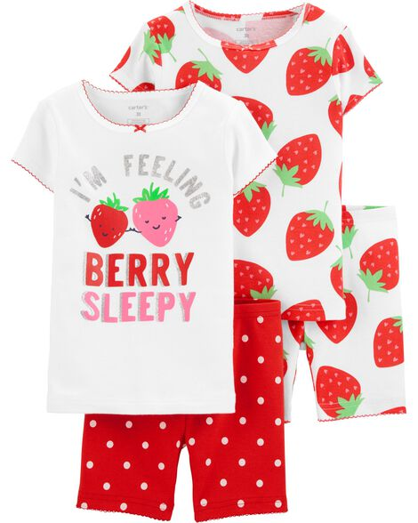 3bac2c86891e 4-Piece Strawberry Snug Fit Cotton PJs
