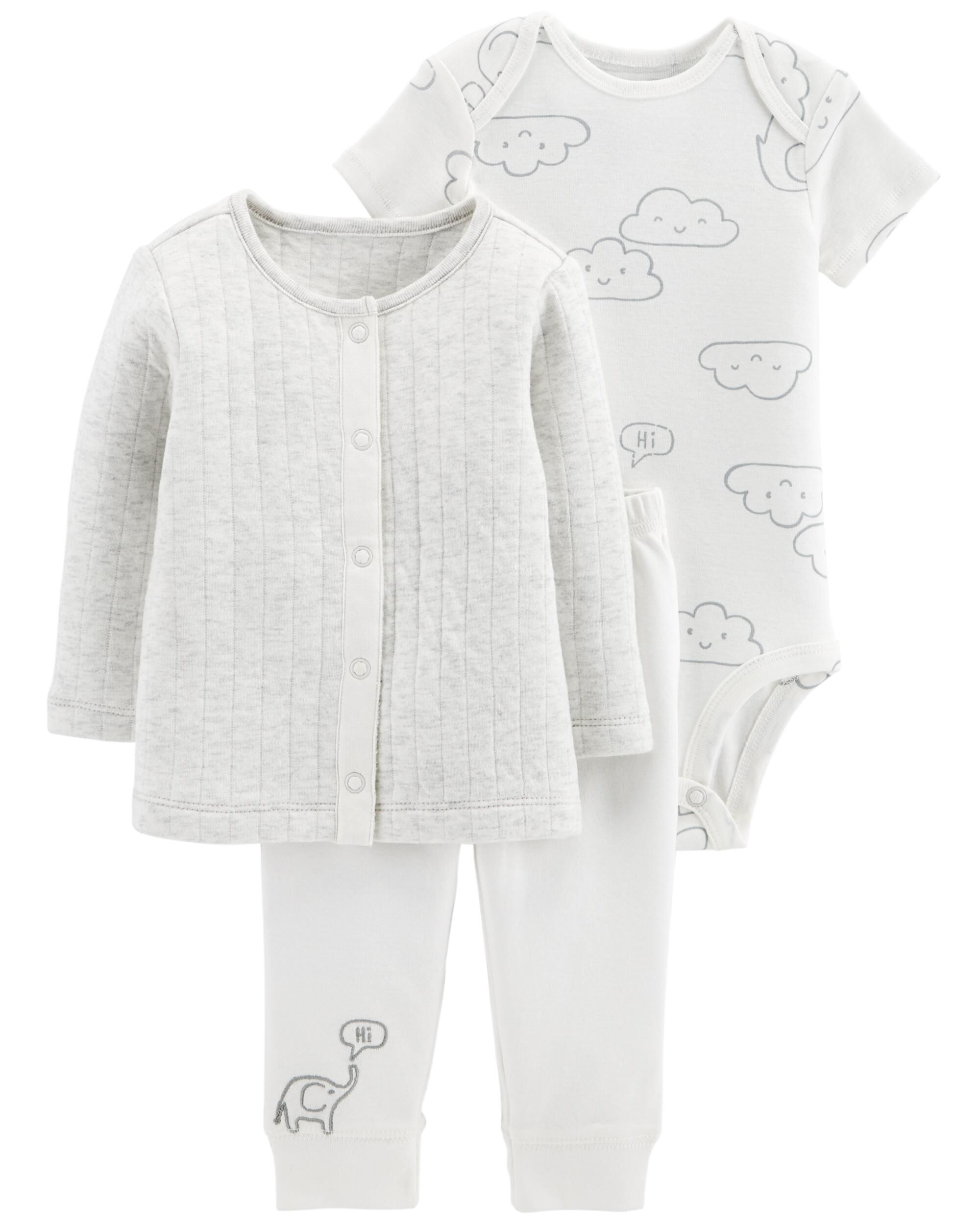 14 BLUES BABY white baby suit with quilted jacket 3 piece New Newborn to 3 m