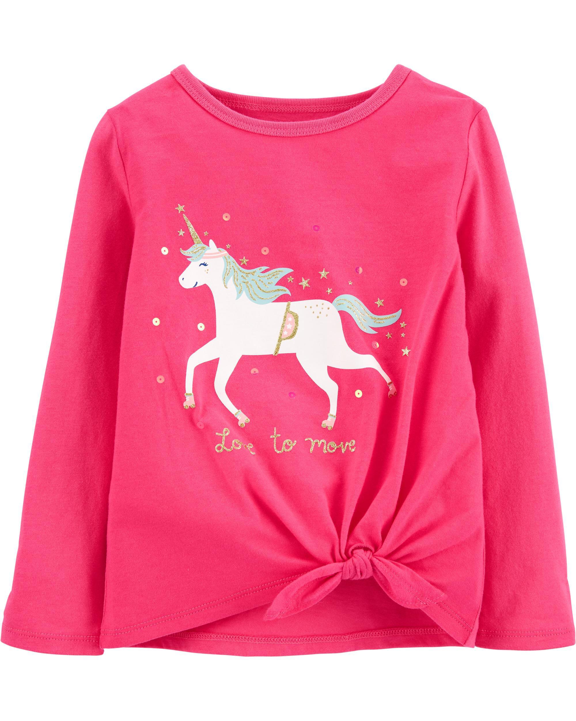 *DOORBUSTER* Glitter Unicorn Tie-Front Jersey Tee