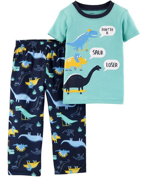 6f5626b17 2-Piece Dino Cotton   Poly PJs