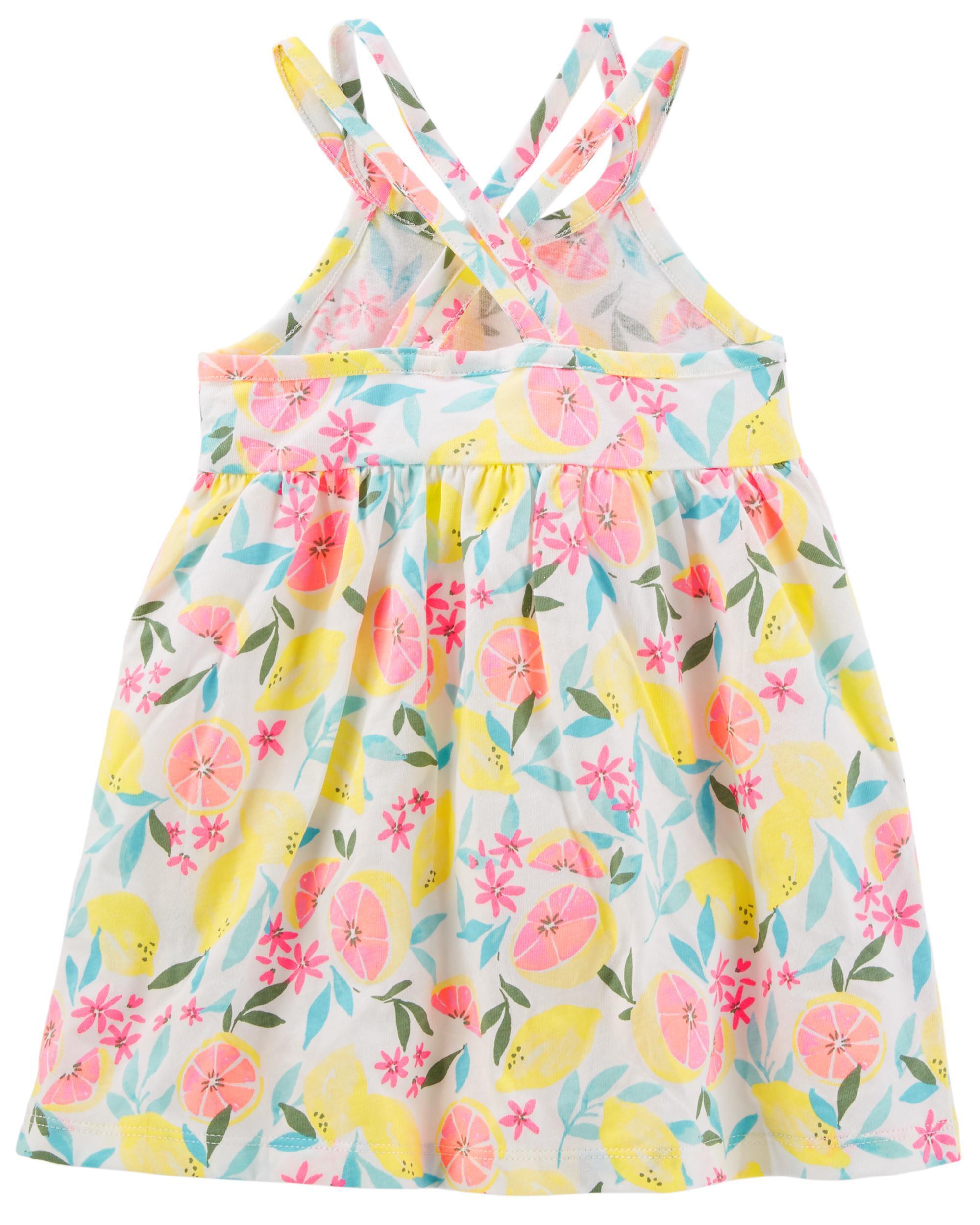 Baby Girl Lemon Cross Back Dress