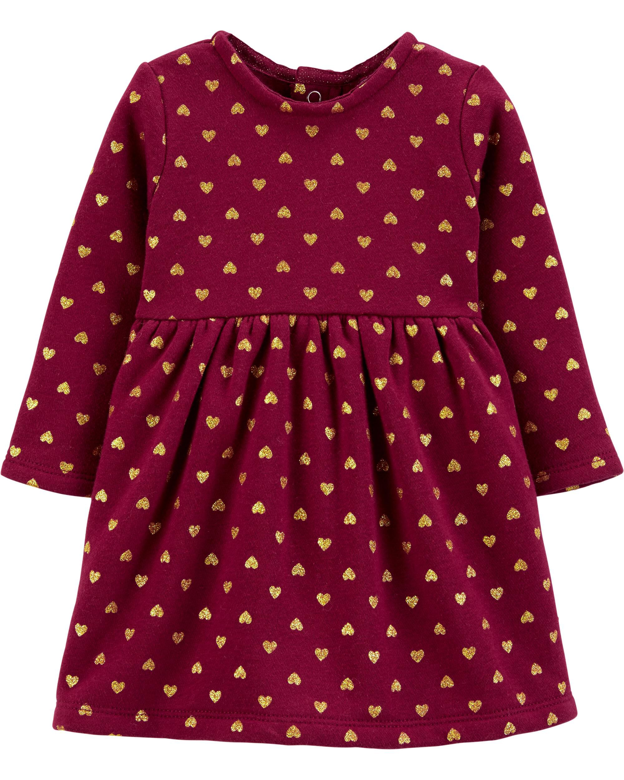 *CLEARANCE* Glitter Heart Fleece Holiday Dress