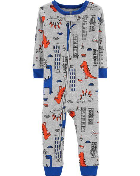 fbd94daa2 1-Piece Dinosaur Snug Fit Cotton Footless PJs