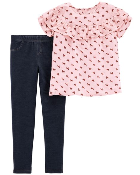 2-Piece Dog Ruffle Top & Knit Denim Legging Set