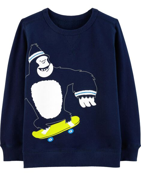 Skateboarding Gorilla Fleece Sweatshirt
