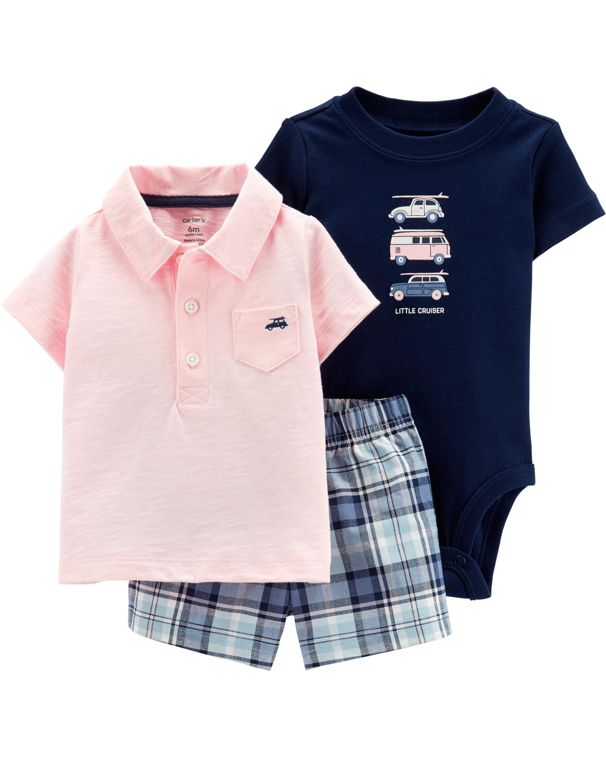 New Carter/'s 3Pc Baby Boys Bodysuit Polo Tee or Button Front Shirt /& Shorts Set
