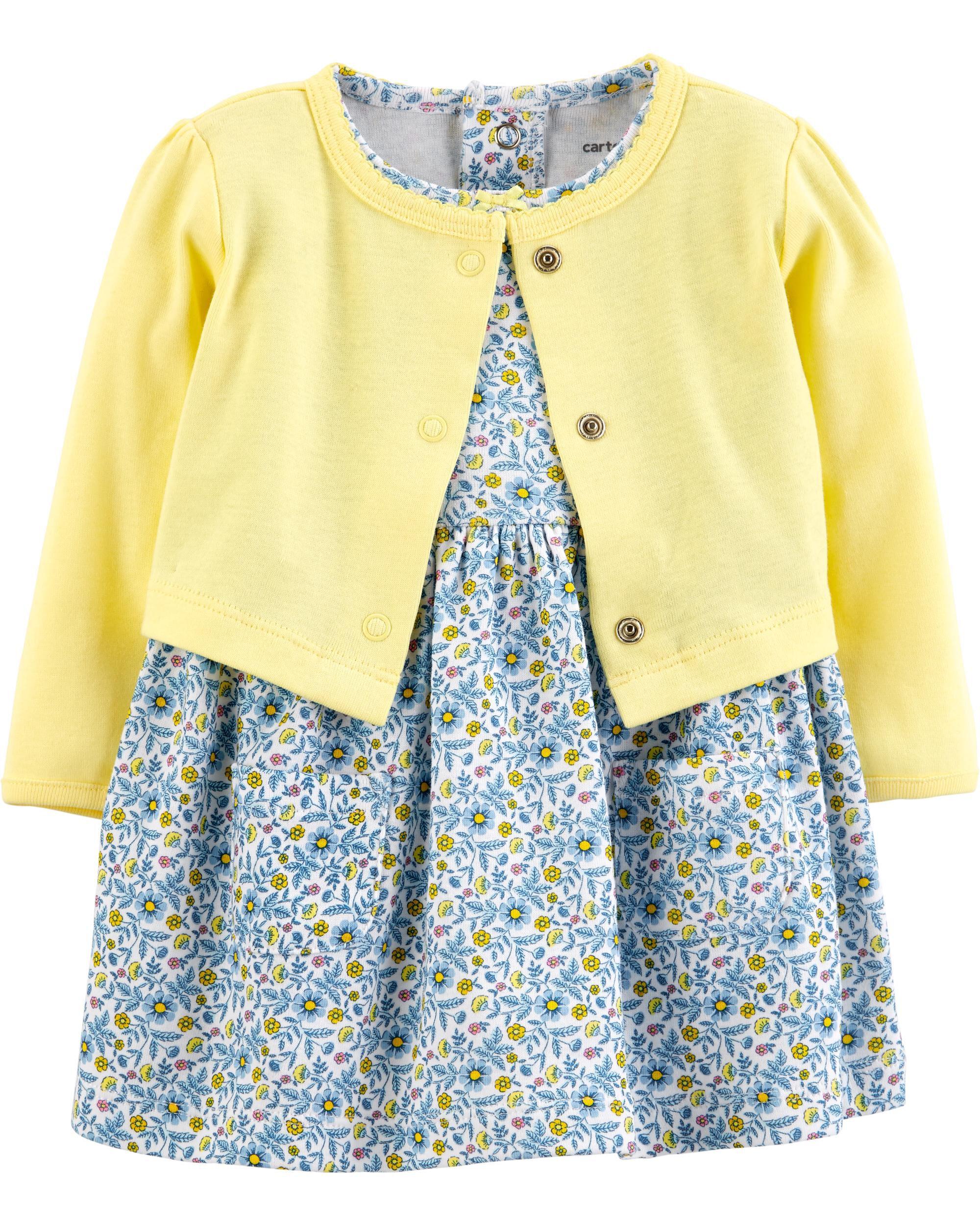 34cd25a7d1e 2-Piece Floral Bodysuit Dress   Cardigan Set