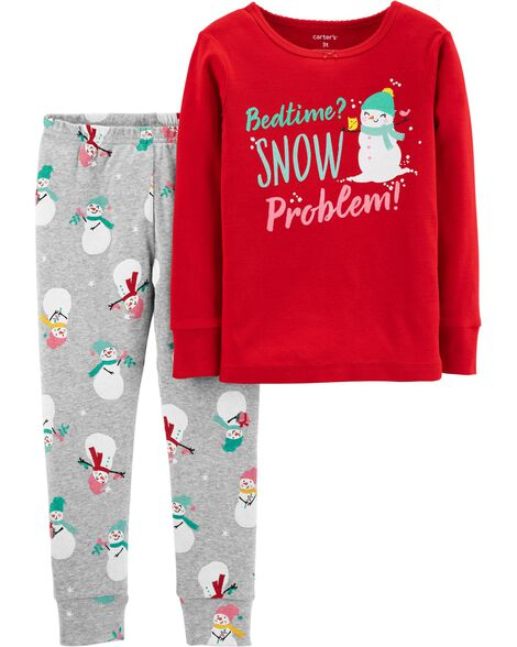 f1623995b 2-Piece Christmas Snowman Snug Fit Cotton PJs