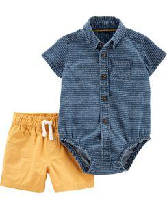 dc82e844d 2-Piece Denim Button-Front Bodysuit & Poplin Short Set