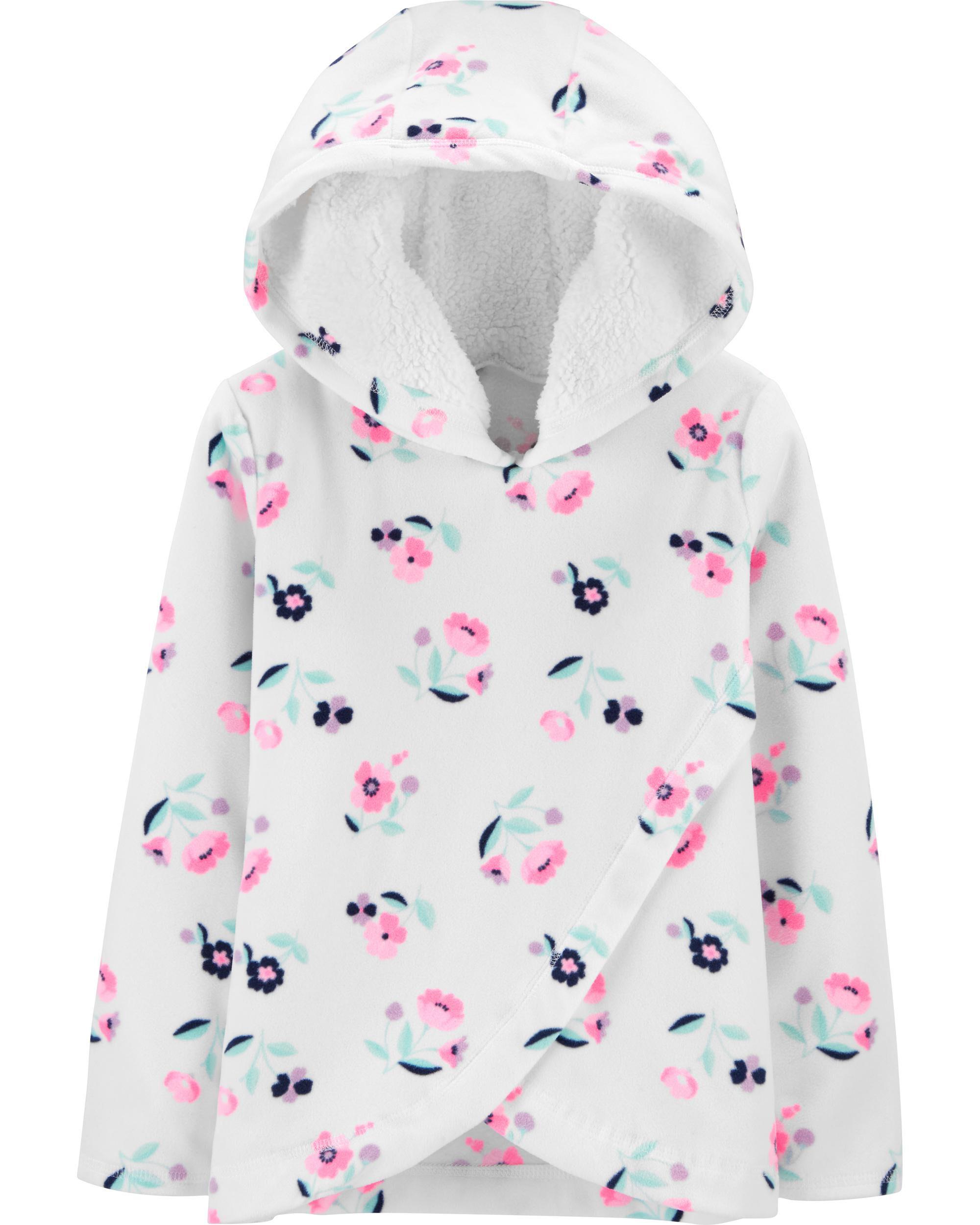 Floral Cross-Front Fleece Hoodie