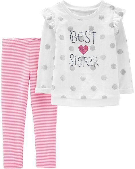 2-Piece Best Sister Sequin Top & Striped Legging Set