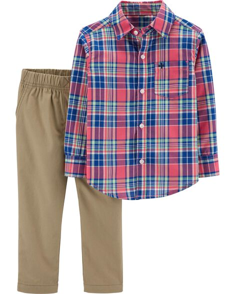 2-Piece Plaid Button-Front & Khaki Pant Set