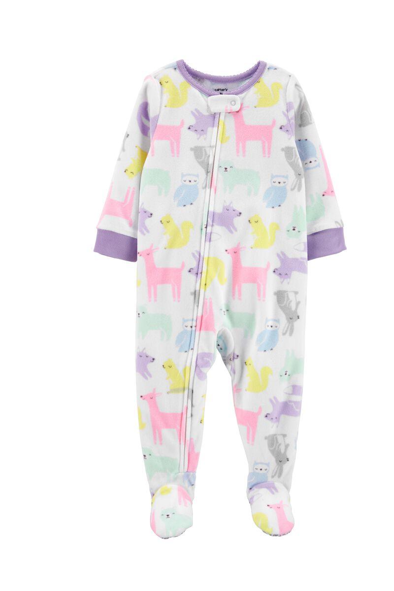 New Carter/'s 1pc Woodland Animals Fleece Pajama Footie Sleeper Toddler Boy Red