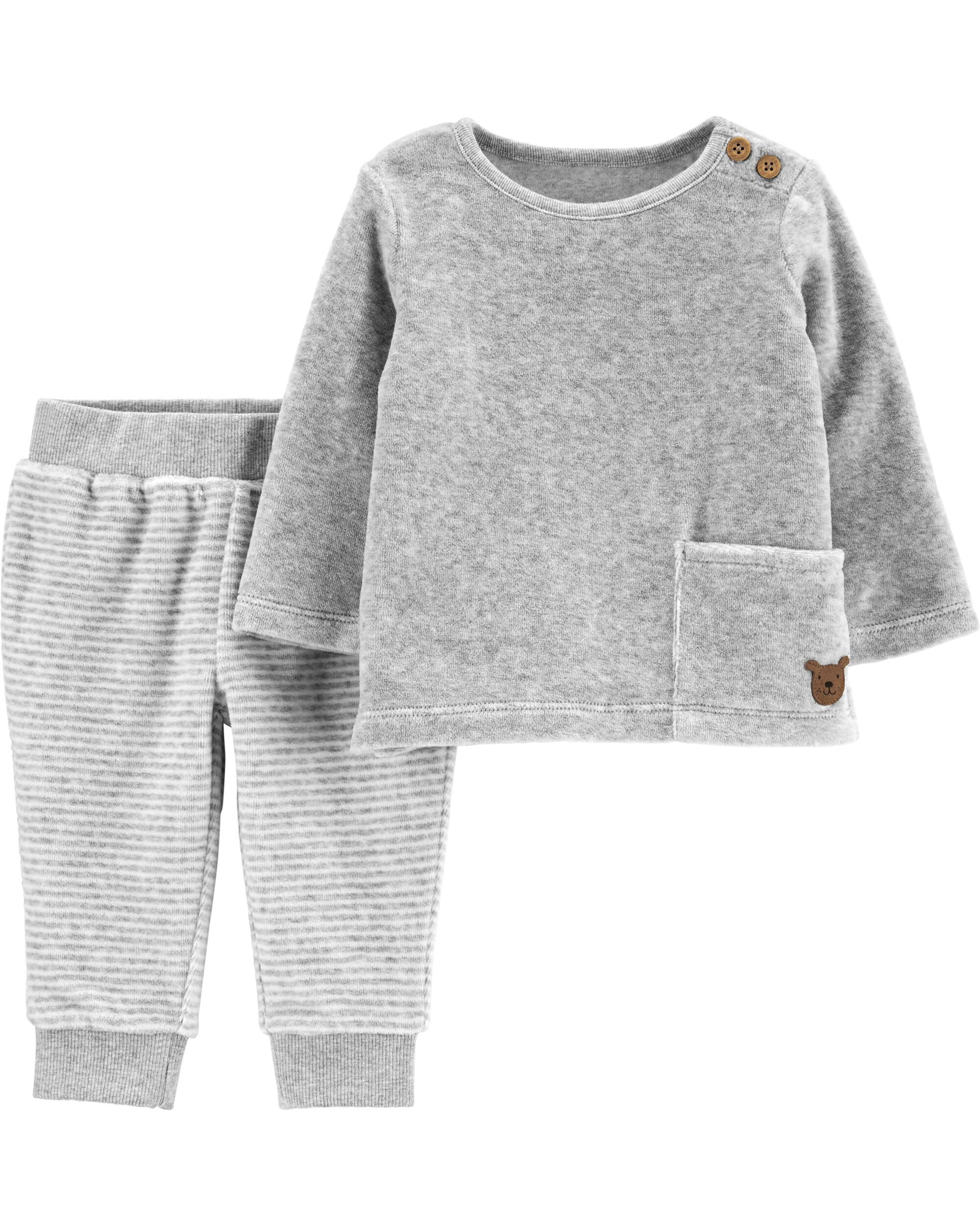 *CLEARANCE* 2-Piece Velour Top & Striped Pant Set