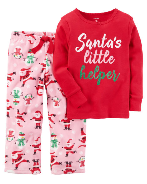 0868d6fc1587 2-Piece Christmas Cotton   Fleece PJs