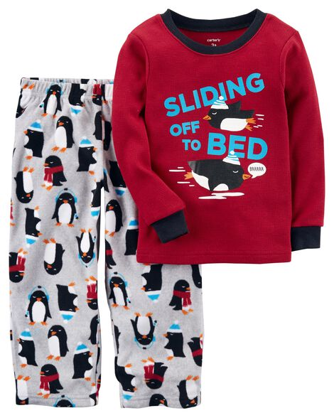 8ee9c52fe 2-Piece Penguin Thermal   Fleece PJs