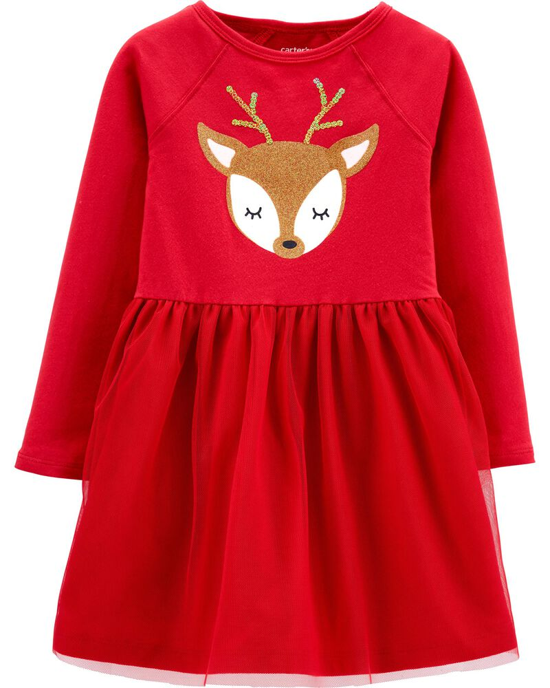Details about  /NEW Christmas Reindeer Girls Red Striped Long Sleeve Dress 18 M 2T 3T 4T 5T 6