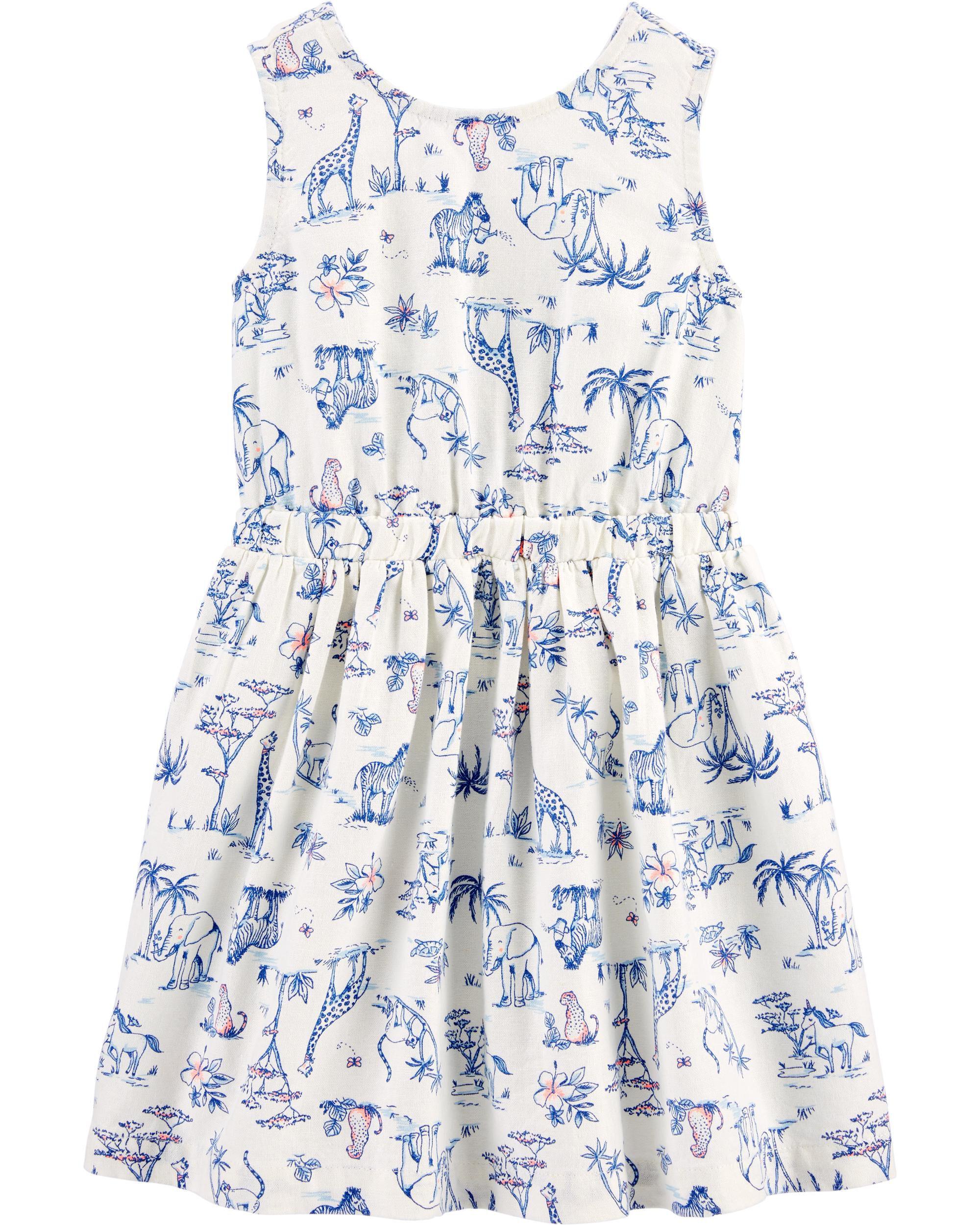 Safari Animal Linen Dress
