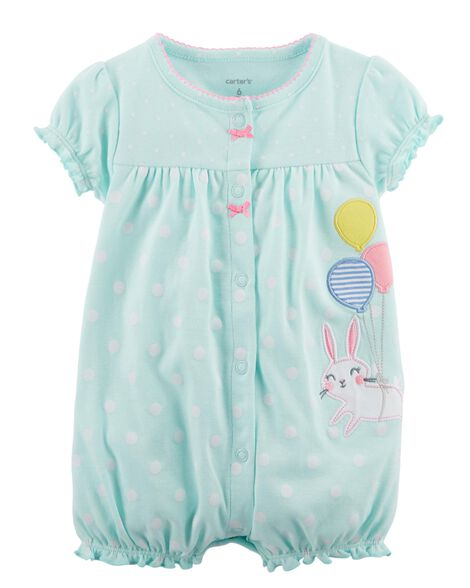 Bunny Snap-Up Cotton Romper