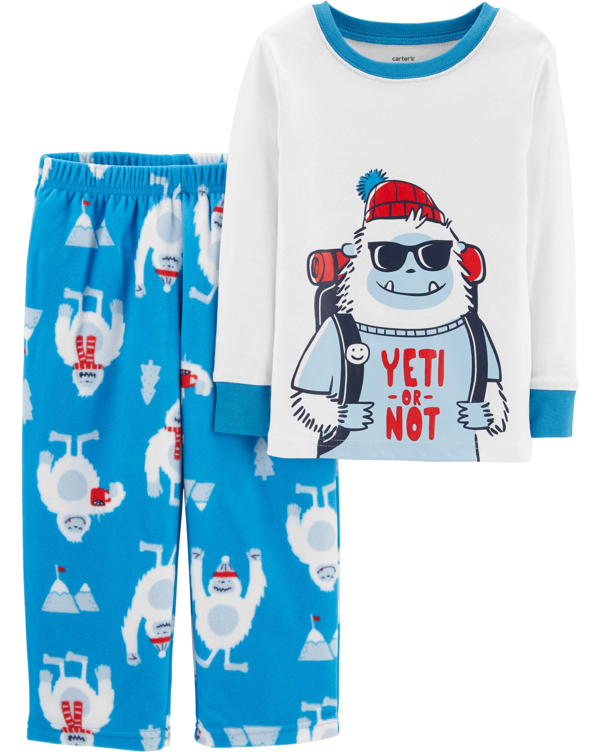 2 piece yeti cotton fleece pjs carters com