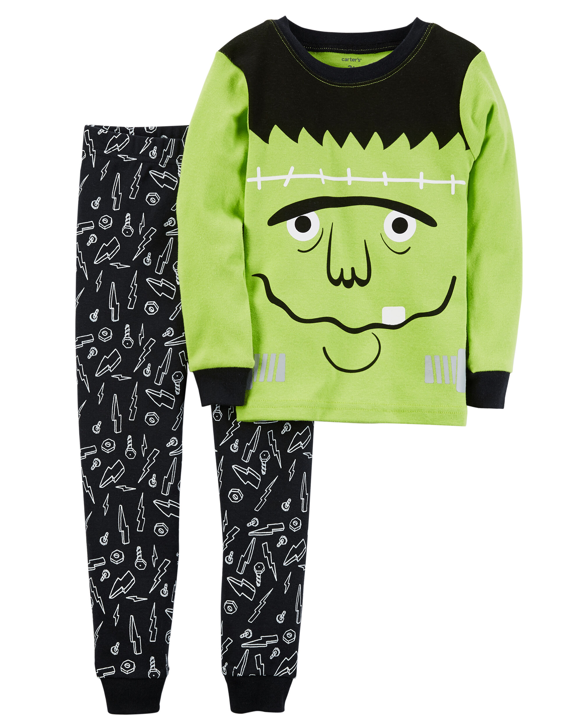 2 piece frankenstein snug fit cotton halloween pjs loading zoom