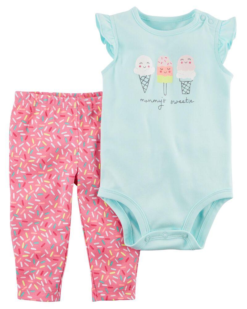 NWT Carter/'s Ice cream pants bodysuit outfit set I scream baby girl 3M 6M 12M