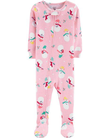 c8cab5481 1-Piece Christmas Snowman Snug Fit Cotton PJs