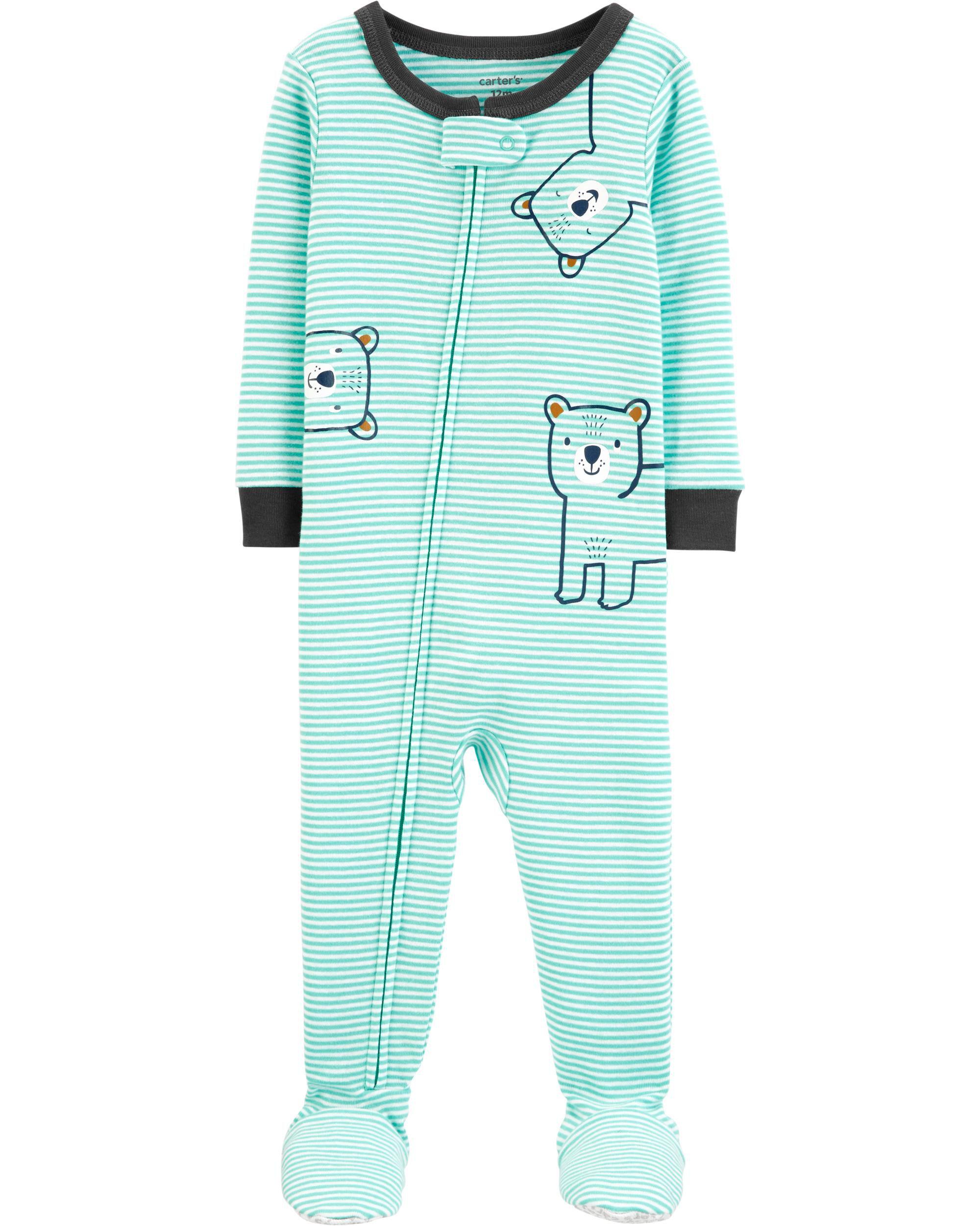 *CLEARANCE* 1-Piece Bear Snug Fit Cotton Footie PJs