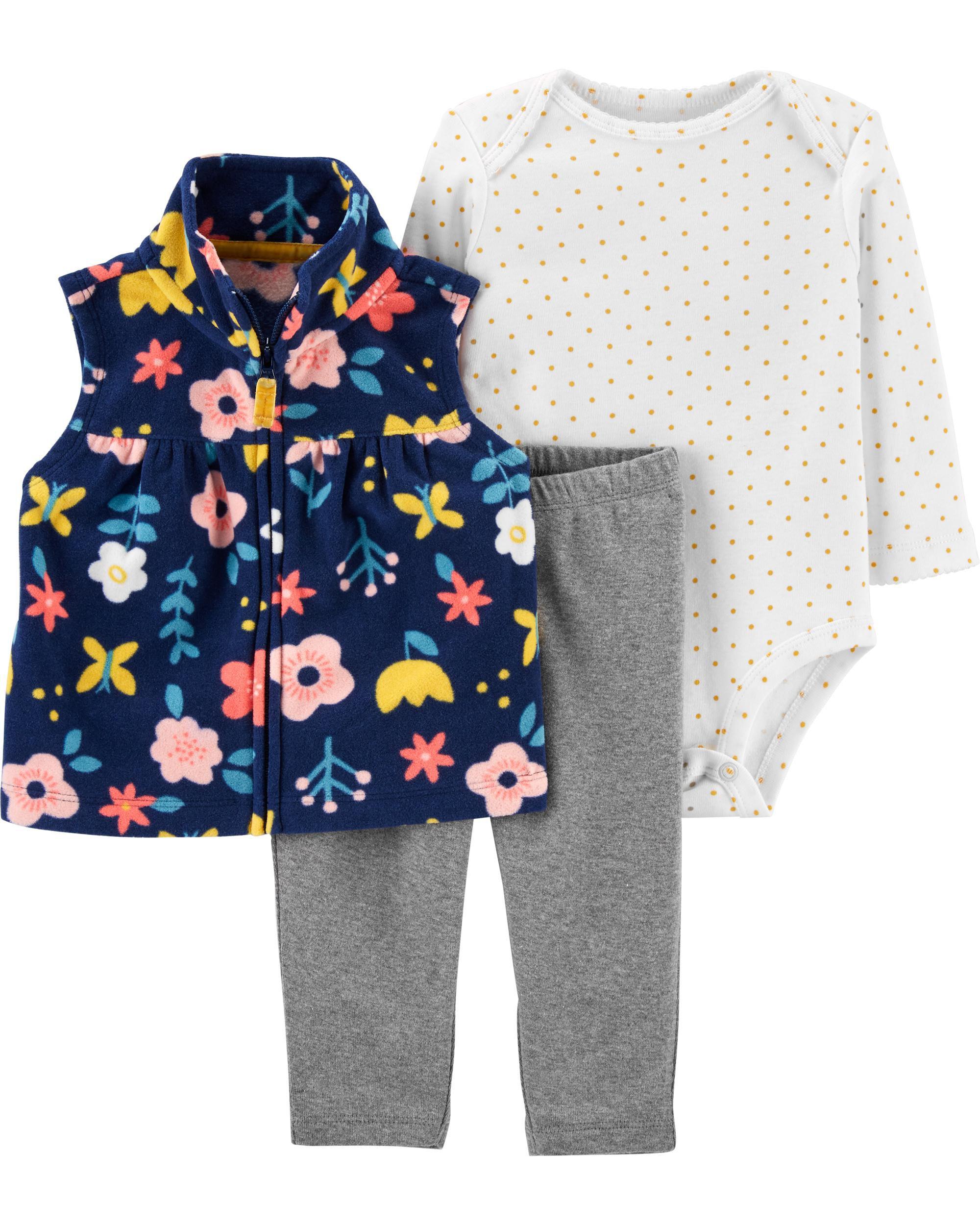 *CLEARANCE* 3-Piece Floral Little Vest Set