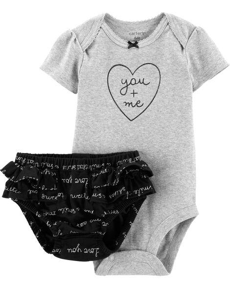 2-Piece Heart Bodysuit & Diaper Cover Set